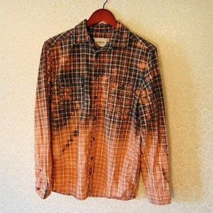 Bleached Distressed Plaid Flannel Shirt OOAK
